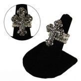 Pave Crystal Cross Stretch Ring, Black