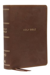 NKJV Comfort Print Compact Single-Column Reference Bible, Imitation Leather, Brown - Slightly Imperfect