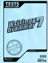 BJU Writing & Grammar Grade 7 Tests Answer Key, Third Edition