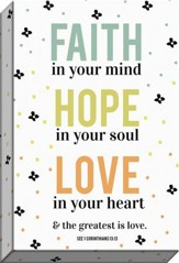 Faith, Hope, Love Canvas Art, 1 Corinthians 13:13
