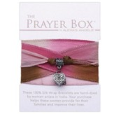 Silk Wrap Prayer Box Bracelet, Heart, Tan and Pink