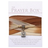 Silk Wrap Prayer Box Bracelet, Square, Tan