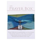 Silk Wrap Prayer Box Bracelet, Square, Blue and Green