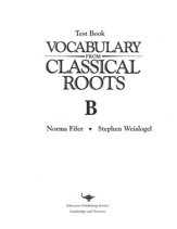 Vocabulary from Classical Roots  Blackline Master Test: Book B (Homeschool Edition)