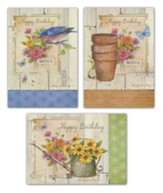 Rustic Blossoms Birthday Cards, Box of 12 (KJV)