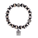 Prayer Box Stone Bracelet, Black & White Striped