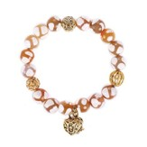 Prayer Box Stone Bracelet, Orange & White Dot