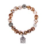 Prayer Box Stone Bracelet, Tan & White Dot