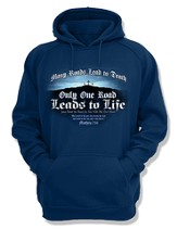 Only One Road Leads To Life, Hooded Sweatshirt, Navy, Medium