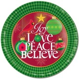 Joy Love Peace Believe Paper Plates, Pack of 8