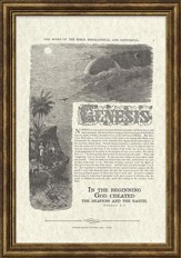 Genesis Antique Bible Page, Genesis 1:1, Framed Art