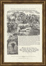 Book of Ruth Antique Bible Page, Ruth 1:16, Framed Art