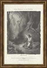 Jesus Praying in the Garden Antique Bible Page, Matthew 24:39, Framed Art