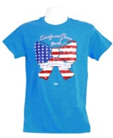 God Bless America Bow 2 Shirt, Heather Blue  Small