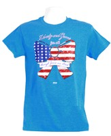 God Bless America Bow 2 Shirt, Heather Blue   XX-Large