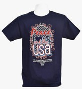 Peace Love And The USA Shirt, Navy,  Large