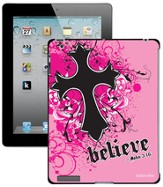 Believe with Cross iPad Case, Pink - Slightly Imperfect