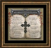 Ten Commandments with Cross Framed Art