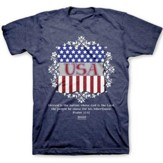 USA Shield Shirt, Heather Navy,  Large