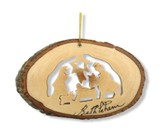 Nativity with Bark Trim Ornament