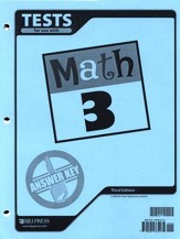 BJU Math Grade 3 Tests Answer Key, Third Edition