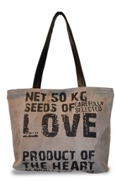 Seeds Of Love, Suede Leather Tote Bag