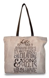 Life Isn't About Avoiding Risks, Suede Leather Tote Bag