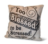 Too Blessed To Be Stressed, Suede Leather Pillow