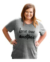 Love One Another, Ladies Top, Gray, X-Large