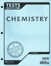 BJU Chemistry Grade 11 Tests Answer Key, Third Edition