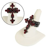 Faceted Crystal Cross Stretch Ring, Red