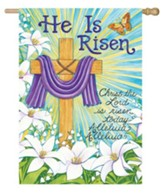 He Is Risen, Cross and Lilies Flag, Large