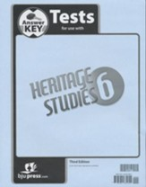 BJU Heritage Grade 6 Tests Answer Key, Third Edition