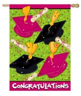 Congratulations, Graduation Caps Flag, Large