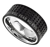 Fear No Evil Sport Men's Ring Black, Size 10 (Psalm 23)
