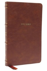 NKJV Comfort Print Thinline  Bible--soft leather-look, brown