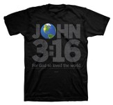 John 3:16 World Shirt, Black, Small