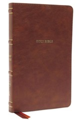 NKJV Comfort Print Thinline  Bible--soft leather-look, brown (indexed)
