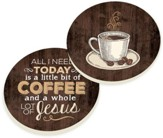 Coffee and Jesus Car Coasters, Set of 2