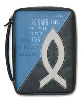 Fishers Of Men, Bible Cover, Black and Blue, Large