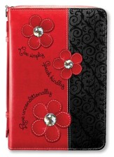 Live Simply, Bible Cover, Red, Large