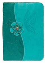 Butterfly Bible Cover, Teal, Large