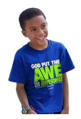 God Put the Awe In Awesome Shirt, Blue, Youth Small