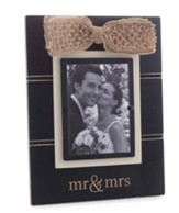 Mr. & Mrs. Photo Frame, with Gold Bow