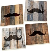 Rustic Mustache Coasters, Set of 4