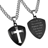 Psalm 23 Shield Cross Necklace, Black
