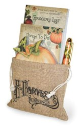 Harvest Blessings Notepad, Grocery List, Pen Gift Set in Burlap Bag