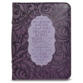 For I Know the Plans I Have For You Bible Cover, Purple, X-Large