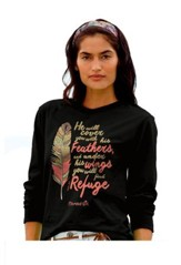 Cherished Feathers, Long Sleeve Shirt, Black, Medium