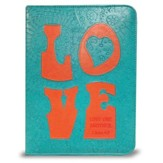 Love Bible Cover, Teal and Orange, Large